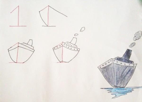 Кораблик карандашами